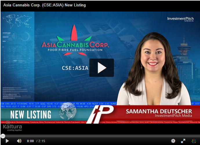 Cannabis Corp. (CSE:ASIA) New Listing, In InvestorPitch.com
