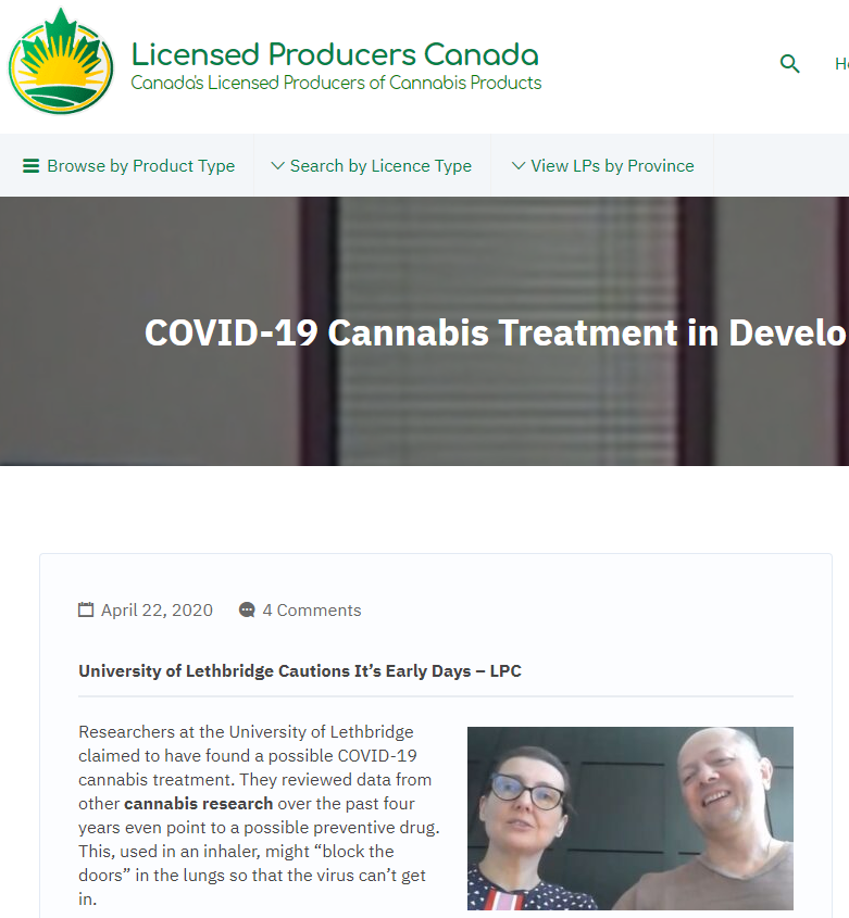 COVID-19 Cannabis Treatment In Development In Canada