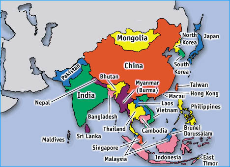Asia Countries Map -